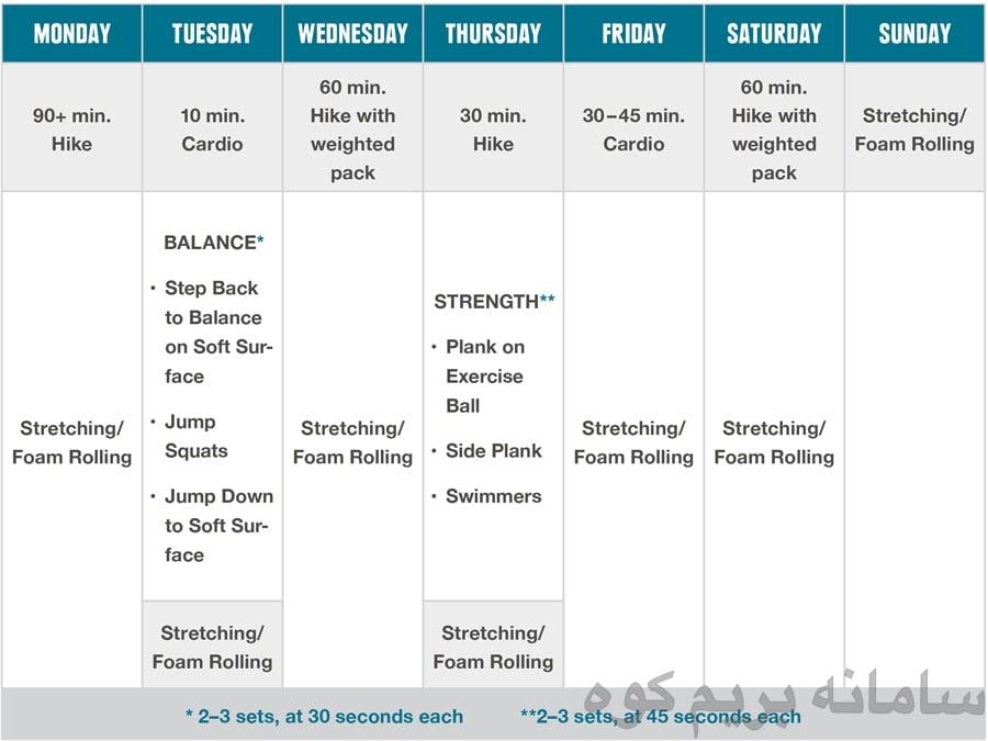برنامه ی ماه اسوم مخصوص تمرین های کوهنوردی